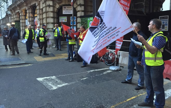 Construction union protests over welfare facilities
